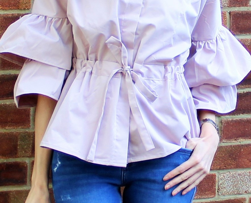 OOTD featuring a ruffled Shein blouse in blush pink - 3