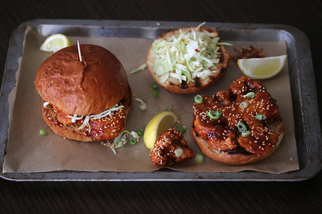 Sticky Cauliflower Burgers in Brioche Buns with Pickled Cabbage