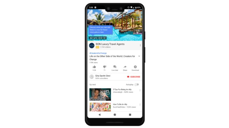 يوتيوب ستضع اعلانين متتاليين في  الفيديوهات