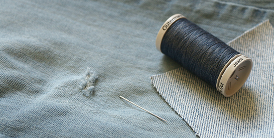 Jeans with Hole and Mending Supplies