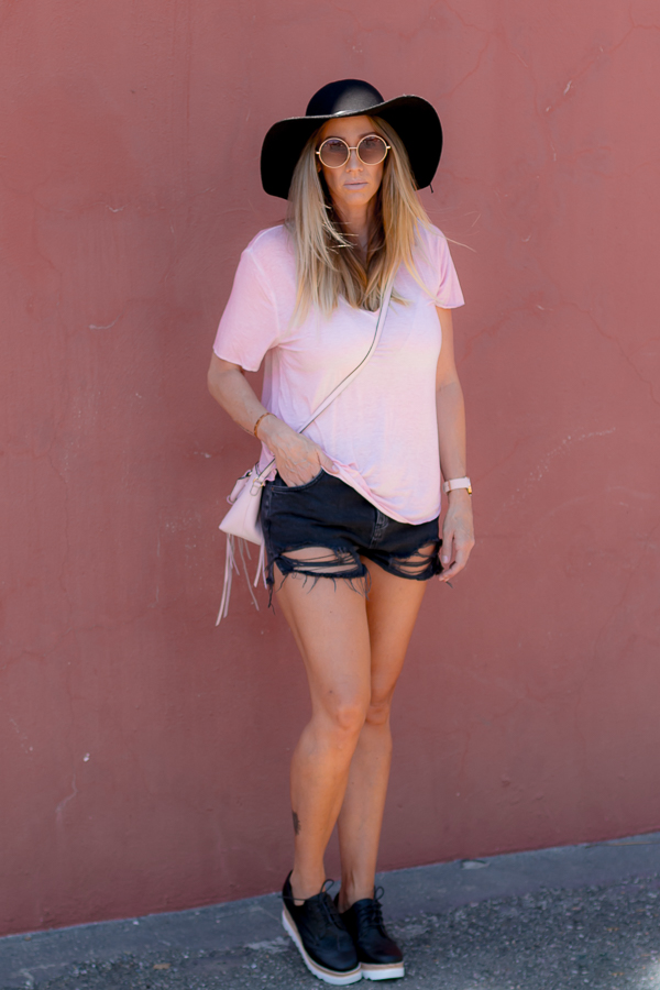 parlor girl soft v neck pink tee