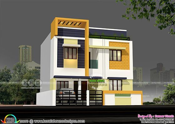 1600 square feet modern 4 bedroom tamilnadu house kerala for Bedroom designs tamilnadu