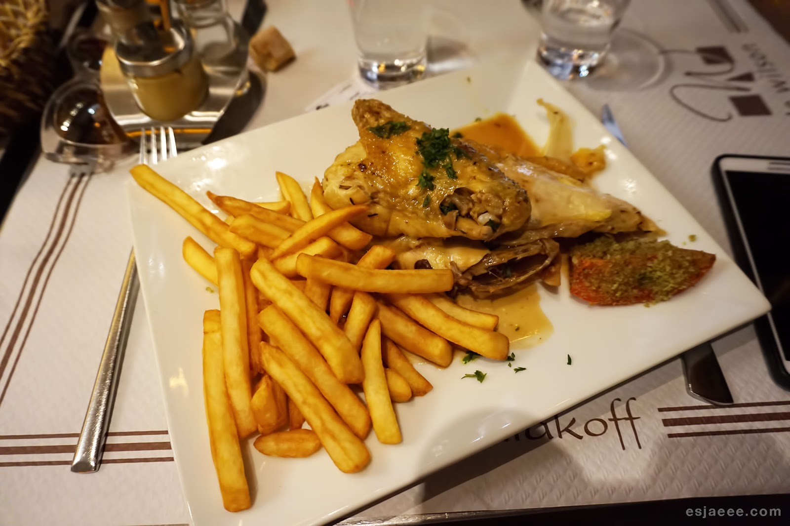 Roast chicken with Fries at Le Wilson
