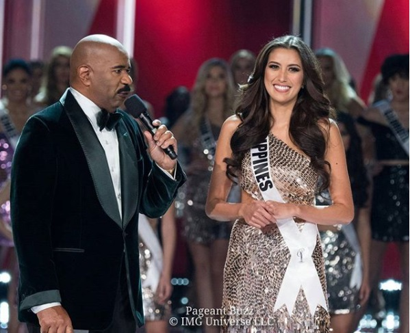 Miss Philippines Rachel Peters with host Steve Harvey.