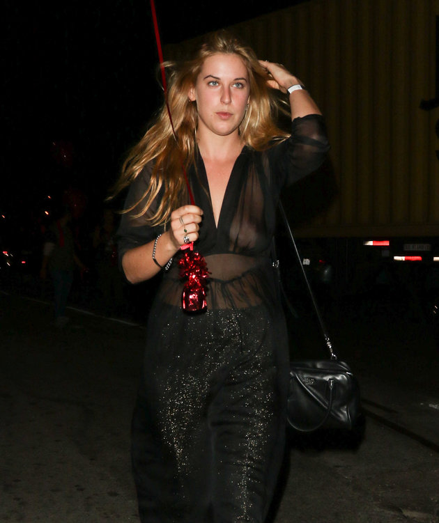 Scout Willis goes braless in a sheer jumpsuit out and about in LA