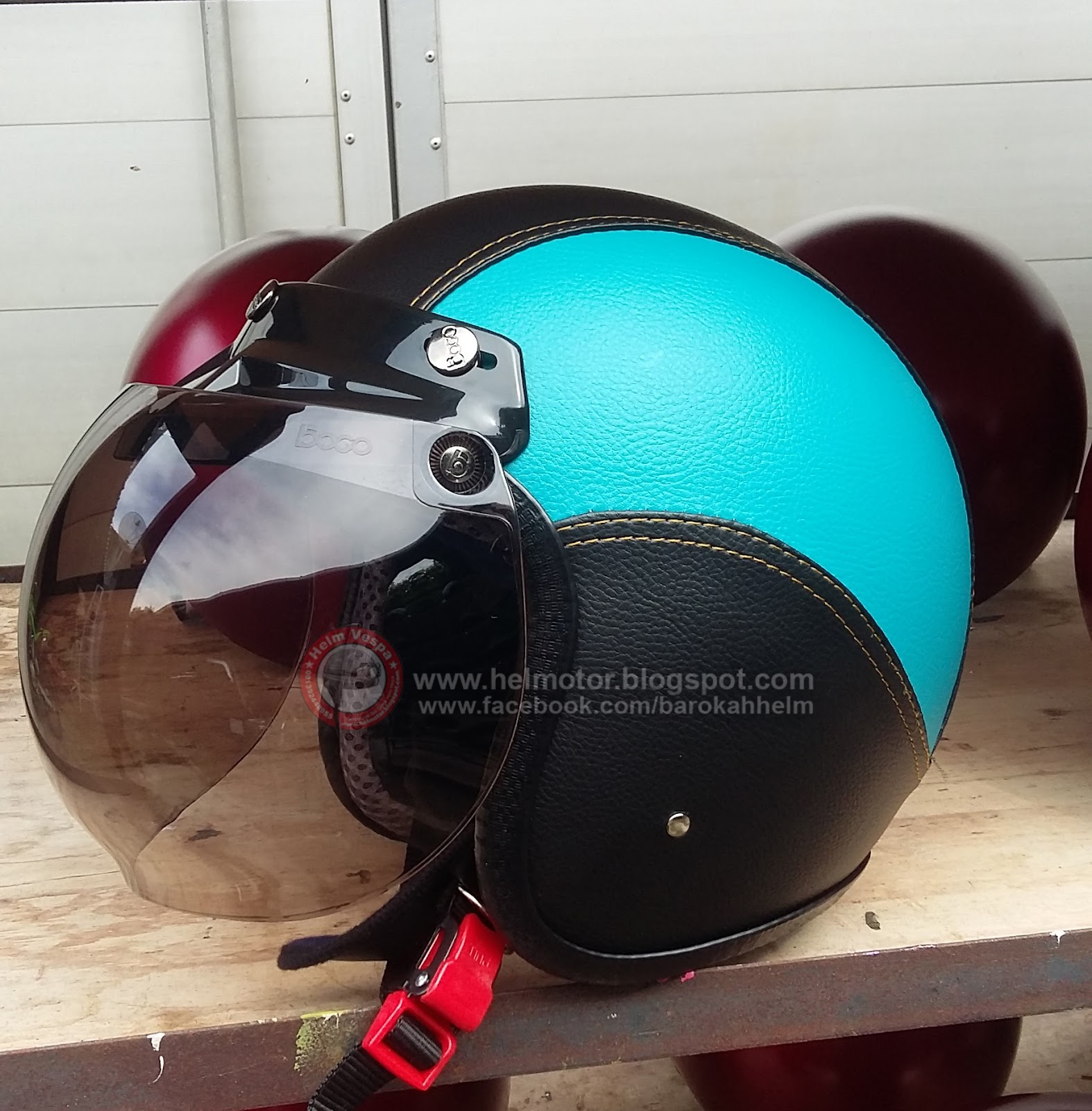 helm retro bogo biru muda hitam helm vespa. Black Bedroom Furniture Sets. Home Design Ideas