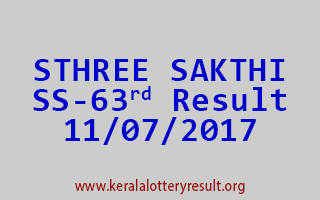 STHREE SAKTHI Lottery SS 63 Results 11-7-2017