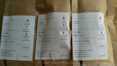 Paper & Tea Teeproben Rückseiten