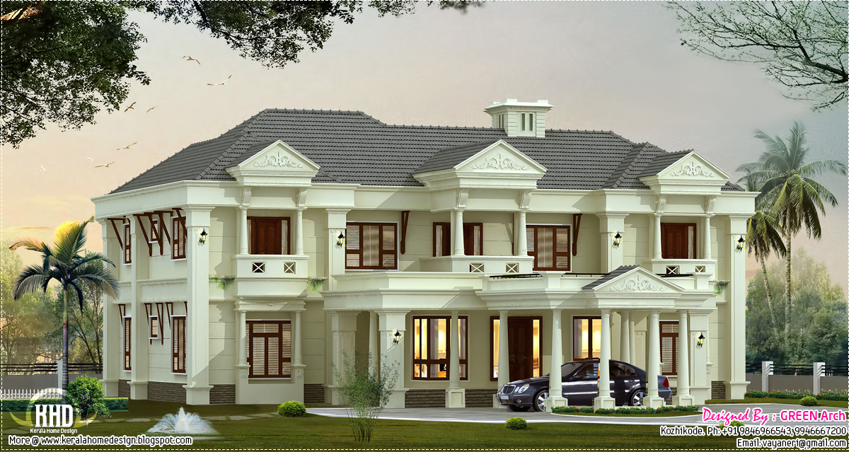 Luxury villa elevation design kerala home design and for 5000 sq ft modular homes
