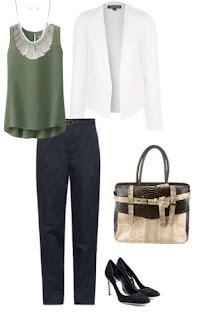 look profissional formal - blazer branco, calças pretas, sapatos pretos de saltotop verde tropa, mala catanha e bege