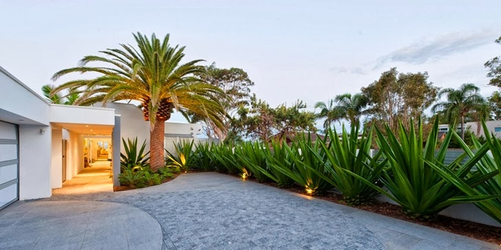 Driveway in Coastal Oasis landscape project by Urban Exotic