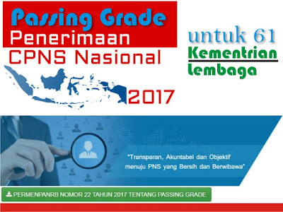 merupakan nilai minimal yang harus dipenuhi oleh setiap peserta ujian seleksi Calon Pegaw Passing Grade SKD Tes CPNS 2017 Untuk 61 Instansi