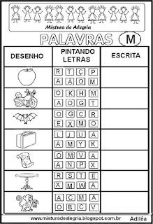Sequência alfabética alfabetização letra M