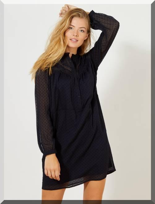 robe-noire-pois-kiabi