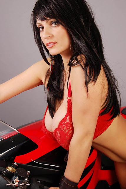 Denise-Milani-Bike-Photoshoot-in-red-hot-bikini-picture-29