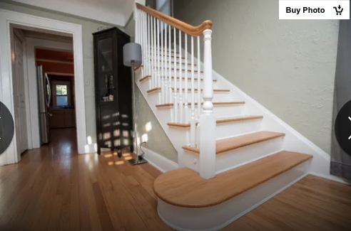 photo from Detroit Free Press article about authenticated Wardway Maywood  in Berkley Michigan, showing staircase area