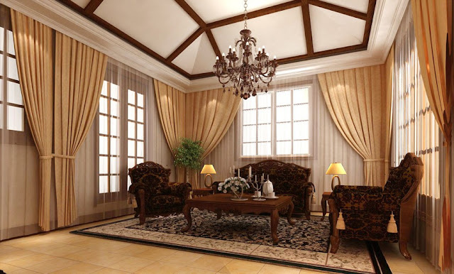 Modern living room curtains and drapes in peach color