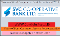 Shamrao Vithal Co-operative Bank Recruitment 2017–Customer Service Representative Officer
