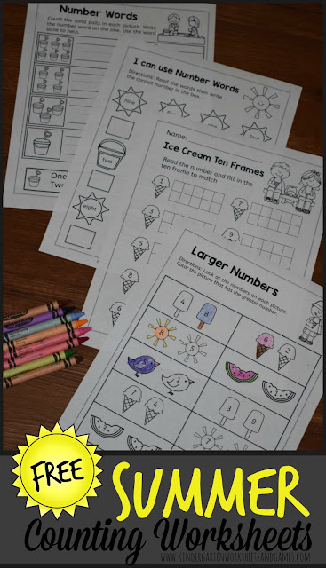 FREE Summer Kindergarten Math Worksheets - these NO PREP, free printable math worksheets are prefect for helping kids practice counting, writing numbers, writing number words, which one is bigger, number lines, ten frame, and more for preschool, prek, and kinder #counting #summerlearning #kindergartenworksheets