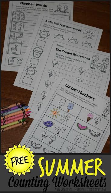 Summer Kindergarten Worksheets To Practice Math