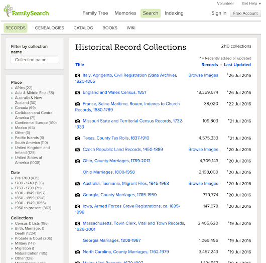 Explosion of Digitized Images on FamilySearch.org