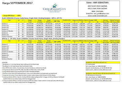 Harga Bukit CERBERA Citra Indah City September 2017