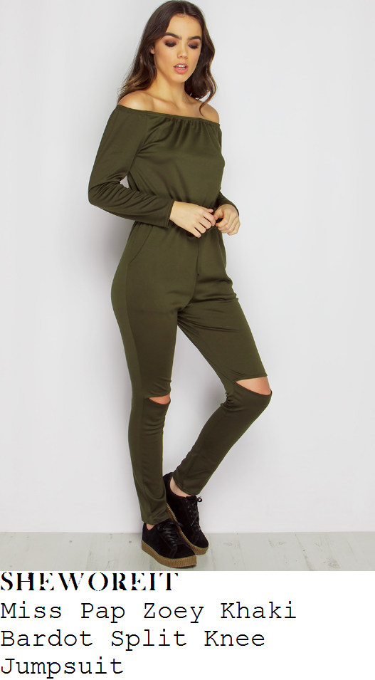 kady-mcdermott-miss-pap-zoey-khaki-green-long-sleeve-off-the-shoulder-bardot-neckline-high-waisted-split-knee-detail-jersey-jumpsuit