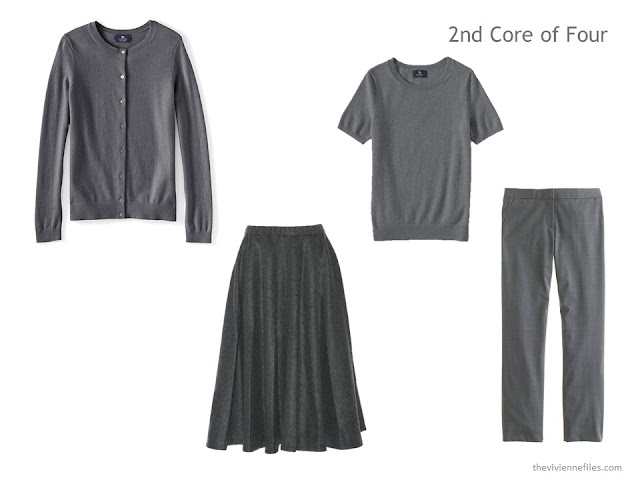 A Core of Four garments in grey: a cashmere twinset of cardigan and shell, a skirt and trousers