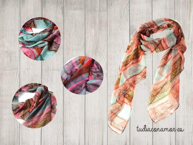 Bonitos pañuelos estampados de estilo étnico para mujer en diferentes colores