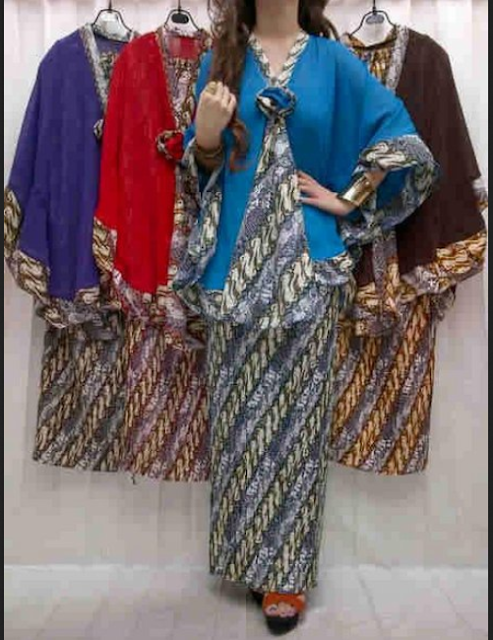 long dress batik kombinasi sifon