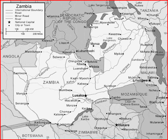 image: Black and white Zambia map