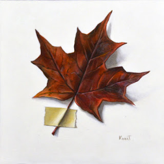 trompe l'oeil painting of a fall autumn leaf