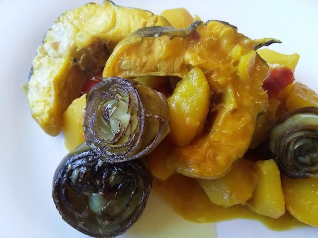 Congrio en salsa con alcachofas a baja temperatura