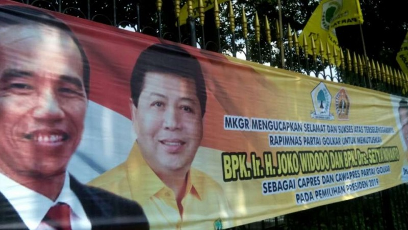 Spanduk Jokowi-Novanto untuk Capres dan Cawapres 2019