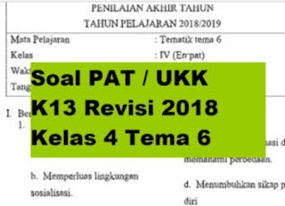 Soal PAT / UKK K13 Revisi 2018 Kelas 4 Tema 6