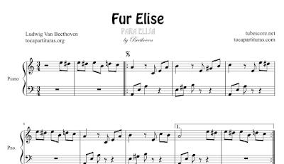Para Elisa de Ludwig Van Beethoven Partitura de Piano Fácil Per Elise piano sheet music Partituras de Para Elisa para instrumentos melódicos, sax, flauta, trompeta, tenor, clarinete, trombón...