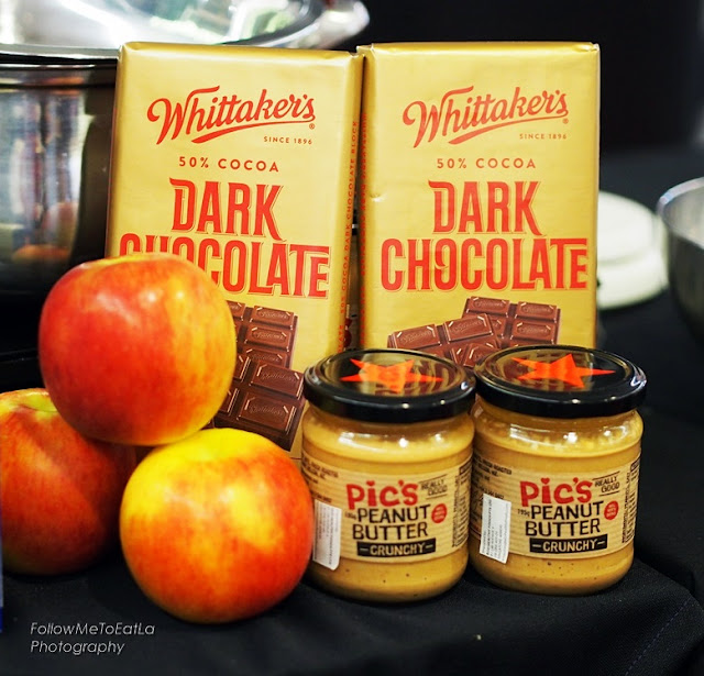 New Zealand apples, Pic's Peanut Butter and Whittaker's Dark Ghana Chocolates
