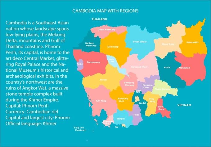 cambodia map vector free download Free Cambodia Vector