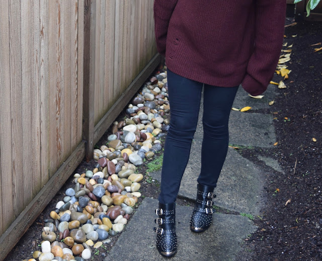 burgundy sweater, black jeans, oversize sweater, studded booties