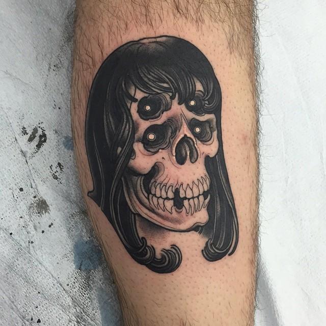 Tattoo Woman Eyes: Woman Skull With Hair And 4 Eye Sockets Tattoo
