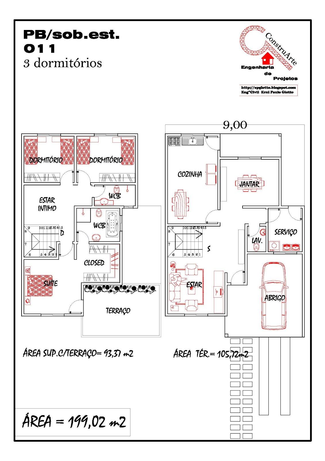 Modelos de Planta Baixa Modelos de Sobrados Planta de casa  #B51616 1131x1600 Banheiro Completo Autocad
