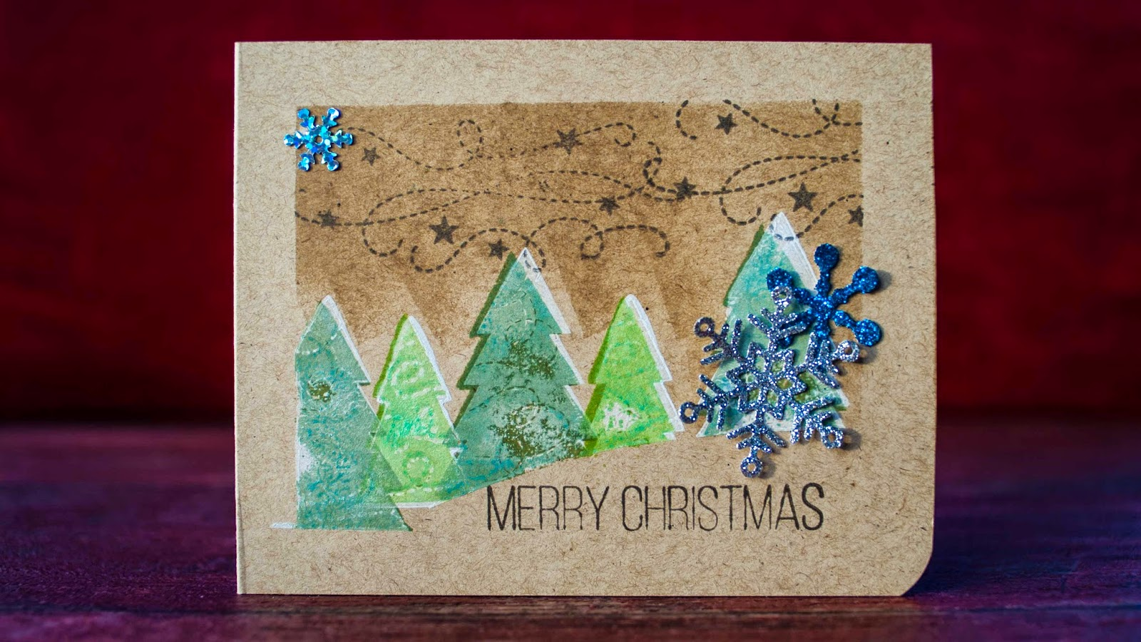 Christmas evergreen trees - SSS kit , Christmas card series #5 2014 stamping on kraft paper and masking technique