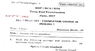 FEG - BEGF -101 Question Paper 2017