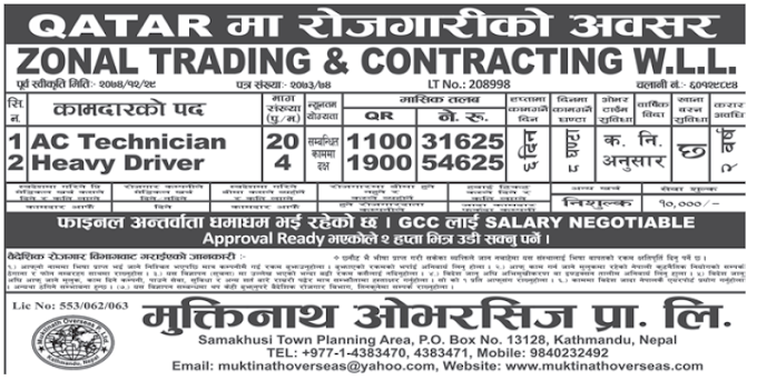 Jobs in Qatar for Nepali, salary Rs 54,625