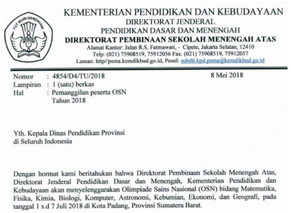 DAFTAR NAMA PESERTA OSN SMA TINGKAT NASIONAL TAHUN 2018