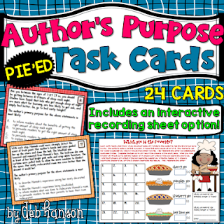 Author's Purpose PIEED Task Cards- Increase the rigor in your upper elementary classroom with this set of author's purpose task cards!