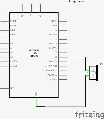 Circuit for Arduino Musical Tune Generator