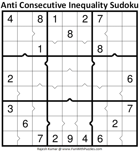 Anti Consecutive Inequality Sudoku Puzzle (Daily Sudoku League #227)