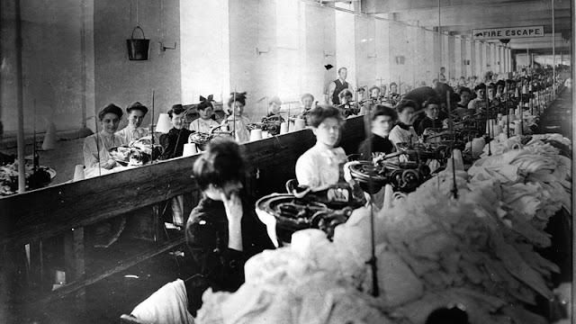 Trabalhadores na fábrica têxtil, Triangle Shirtwaist Company.