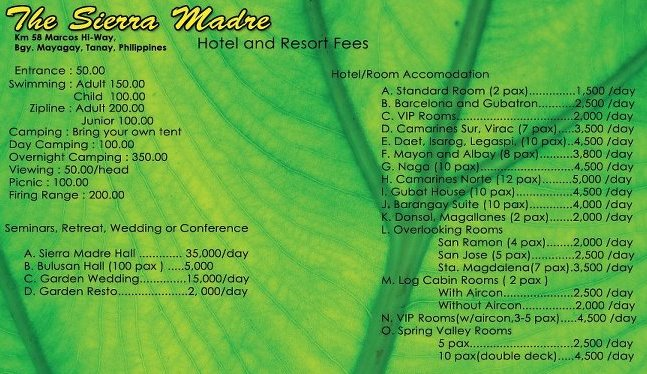 Sierra Madre Hotel and Resort Accomodation Rates